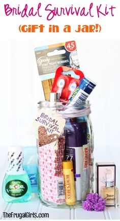 Bridal Survival Kit Gift in a Jar for the Bride to Be! Such a fun bridal shower gift idea! | TheFrugalGirls.com