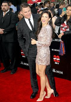 Channing Tatum wrapped his arms around wife Jenna Dewan Tatum at the 22 Jump Street premiere in Westwood, Calif., Tuesday, June 10