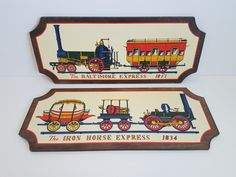 Vintage Set of 2 Train Pictures, The Baltimore Express 1837 and The Iron Horse Express Great for a Boys Room by on Etsy Retro Vintage, Vintage Items, Train Pictures, Young Boys, Recycled Materials, Victorian Era, Baltimore, Recycling, Iron