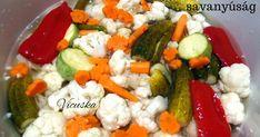 Nagyon finom mindent bele, ecetes savanyúságot készítettem télére!!!! A lányom kapta a receptet, miután megkóstolta ismerőseinél az ece... Ital Food, Pickling Cucumbers, Cobb Salad, Pickles, Food Porn, Veggies, Food And Drink, Favorite Recipes, Meat