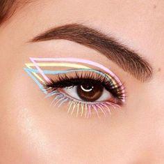 Makeup Eye Looks, Cat Eye Makeup, Eyeshadow Makeup, Makeup Stuff, Glitter Eyeshadow, Face Makeup, Eyeliner Looks, Clown Makeup, Makeup Brush