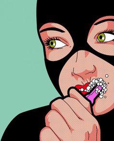 ilustración de super héroes cultura pop