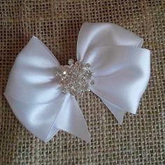 """White Satin Hair Bow with Rhinestone Center, White Flower Girl Hair Bow, 3"""" Hair Bow"""