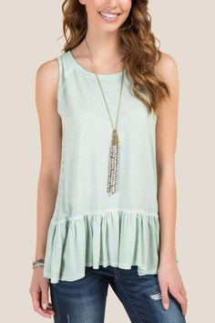 Cadence Sleeveless Ruffle Trim Oil Wash Top