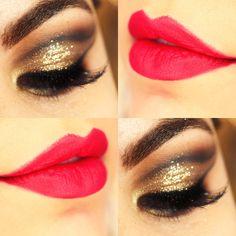 Tutorial – maquiagem dourada com batom vermelho
