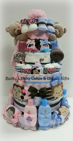Etsy listing at https://www.etsy.com/listing/192211807/twin-diaper-cake-boy-girl-twin-baby-twin