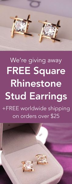 Free Square Rhinestone Stud Earrings