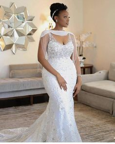 Aso Ebi Lace Styles, Lace Dress Styles, African Lace Dresses, African Fashion Dresses, Dress Fashion, African Bridal Dress, Lace Styles For Wedding, Plus Size Wedding Gowns, Traditional Wedding Dresses
