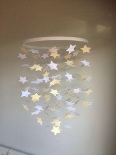 Handmade paper star baby mobile for nursery -unisex