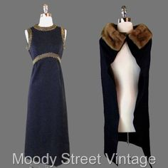 Vintage 60s 70s Dress S Caped 2Pc Mink Fur Maxi Outfit Black Metallic Glam #Unbranded