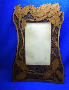 Antique German Wood Carved Black Forest Picture Frame