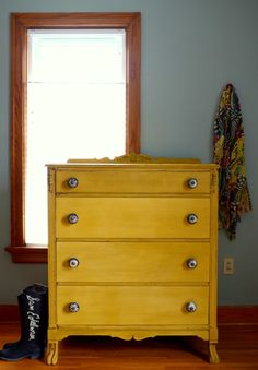 Mustard chest of drawers by Estuary Designs!