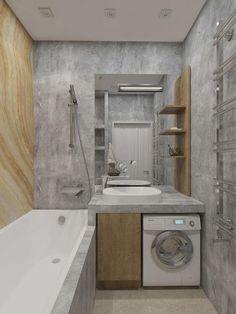 Small House Interior Design, Bathroom Design Small, Bathroom Layout, Bathroom Interior Design, House Design, Small Bathrooms, Bathroom Spa, Laundry In Bathroom, Laundry Rooms