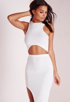 4b30332e924a0 Get a badass basic look with our racer style ribbed crop top. In white