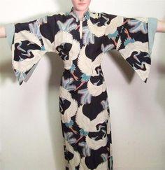 Deadstock Rayon Pake Muu Vintage 40s 50s Crane Print Mcinernys Hawaiian Dress M | eBay