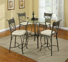 Giselle Round Glass Counter Height Dinette Set Black Round Dining Table,  Glass Top Dining Table