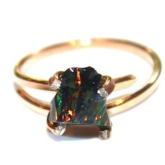 9eda31f2e Small Raw Opal Ring Rose Gold Ring Raw Opal Ring Freeform Ring Black Opal  Jewelry Pink Gold Rose Gold Opal Black Opal Bright Ring Flash