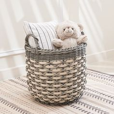 Warm Natural and Silver Wooden Round Woven Baskets (Set of 2) - Overstock - 29072324 Basket Weaving, Hand Weaving, Plastic Baskets, Woven Baskets, Plant Basket, Round Basket, Storage Baskets, Laundry Baskets, Laundry Rooms