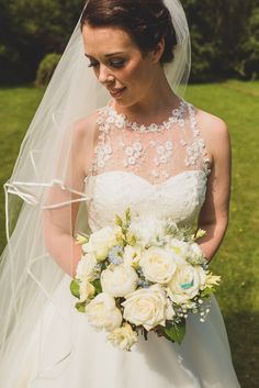 Ellis Bridals Gown Dress Bride Veil Rose Bouquet Cornflower Blue Jade Green Scottish Wedding http://www.mattpenberthy.com/
