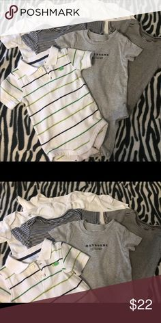 8 pk of onesies. 7 Carters & 1 Gymboree polo 8 pack of Onesies. 4 white Carters. 1 Grey Carters, 2 striped Carters (one Navy/white, one Brown/white all 18 mo and 1 Gymboree polo onesie. Gymboree is 18-24mo. All in like new condition.✨Make an offer. You never know if you don't try!!✨ Carter's One Pieces Bodysuits