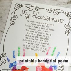 Handprint Poem Printable