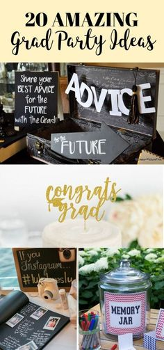 20 Grad Party Ideas You'll Want To Steal Immediately - - Graduation pictures,high school Graduation,Graduation party ideas,Graduation balloons Grad Party Decorations, Graduation Party Centerpieces, Graduation Party Planning, College Graduation Parties, Graduation Celebration, Graduation Party Decor, Grad Parties, Graduation Gifts, Graduation Quotes