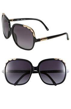 0129b16de35 Chloé Scalloped Trim Oversized Square Sunglasses