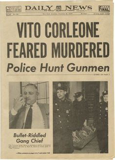 "Movie/TV Memorabilia:Props, ""The Godfather"" Prop Newspaper. ""Vito Corleone Feared Murdered""screams the headline on this faux Daily News tabloid, ""d..."