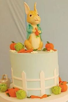 Don't miss this gorgeous Peter Rabbit birthday party! The birthday cake is wonderful!! See more party ideas and share yours at CatchMyParty.com Peter Rabbit Cake, Peter Rabbit Birthday, Peter Rabbit Party, Animal Birthday, Girl Birthday, Birthday Cake, Bridal Shower Cakes, Baby Shower Cakes, Party Themes