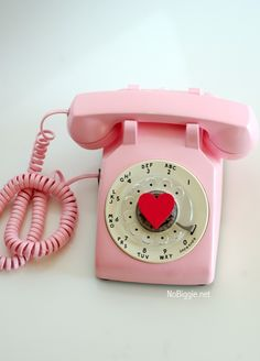 Ran across this dreamy vintage pink telephone spray painted! Super cute and the skies the limit on color! My Funny Valentine, Valentines, Heart Cut Out, Girly, I Believe In Pink, Converse With Heart, Old Phone, Everything Pink, Kids Videos