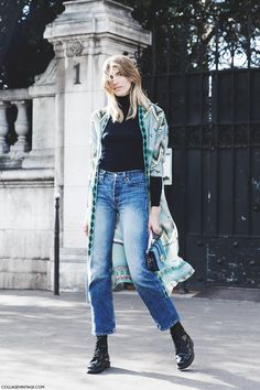 b59813d33729 Dress up any jeans and black turtleneck outfit by adding a statement coat  like this printed