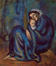 Pablo Picasso Woman Huddled on the Ground with a Child, 1901 Pablo Picasso Artwork, Arts And Entertainment, All Art, Female Art, Creative Art, History, Boys, Painting, Woman