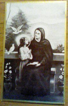 En esta imagen están Santa Ana mama de la Virgen Maria, la abuela y la madre de Jesus Blessed Mother Mary, Blessed Virgin Mary, Lady Madonna, Mama Mary, Santa Ana, St Anne, Religious Icons, Catholic Saints, Art Icon