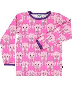 Småfolk lief roze t-shirt met roze olifanten #emilea