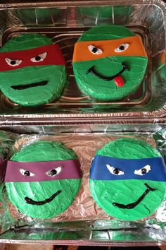 Ninja Turtle cakes for a boys birthday Food