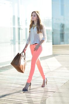 neon jeans. street style, outfit, trouser