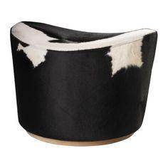 IKEA - STOCKHOLM, Pouf, Funzione girevole.Ogni pouf ha un aspetto unico grazie alle variazioni naturali della pelle di mucca.Il rivestimento è facile da pulire passando semplicemente un panno umido.Utilizzabile come posto a sedere extra per gli ospiti o come poggiapiedi.