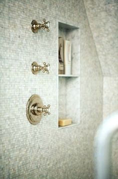 Suzie: Sage Design - Mosaic tiles shower surround and polished nickel vintage shower kit.