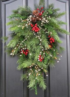 Holiday Swag Wreath - Christmas Pine, Berries and Pinecones Swag for Front Door decor. Front Door Christmas Decorations, Christmas Swags, Noel Christmas, Outdoor Christmas, Holiday Wreaths, Rustic Christmas, Christmas Projects, Christmas Greenery, Etsy Christmas