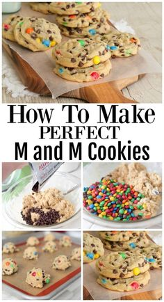 How To Make Perfect M&M Cookies - The Best M and M Cookies! - How To Make Perfect M&M Cookies – The Best Chocolate Chip Cookies! Best Picture For kids christm - Cookie Desserts, Just Desserts, Delicious Desserts, Dessert Recipes, Yummy Food, How To Make Desserts, Cheesecake Recipes, Cokies Recipes, Easy Treats To Make