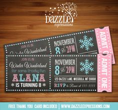 Printable Chalkboard Winter Wonderland Ticket Birthday Invitation   Snowflake   Pink and Blue   ONEderland   Girl Winter Party Idea   Digital File   Ice Skating   FREE thank you card   Party Package Available   Banner   Cupcake Toppers   Favor Tag   Food and Drink Labels   Signs    Candy Bar Wrapper   www.dazzleexpressions.com