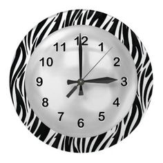 Wall Clock Black White Zebra Stripe by Zizzago