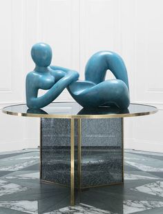 KELLY WEARSTLER | RECLINING FEMALE FIGURE. A stunning sculpture made of solid gesso with Metal Patina finish handcrafted in Los Angeles