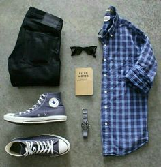 Blue casual checkered