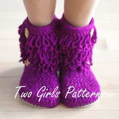 Womens Crochet Boot house slipper pattern by TwoGirlsPatterns