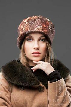 Merino wool and silk. Funky Hats, Cool Hats, Felt Hat, Wool Felt, Flapper Hat, Millinery Hats, Felted Slippers, Cloche Hat, Felt Fabric
