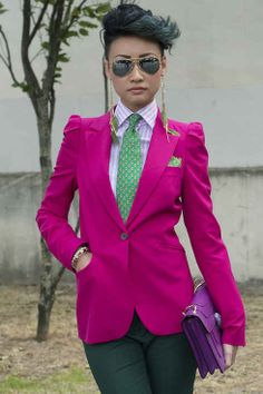 Fuchsia jacket and dark green pants