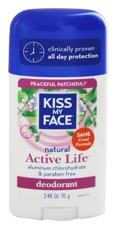 Kiss My Face - Natural Active Life Deodorant Stick Aluminum Free Peaceful Patchouli - 2.48 oz. - Lavender is also a good scent. Both are good for men too.