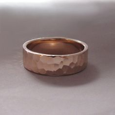 14k Rose Gold Wedding Ring  6 mm wide  Hand Hammered by esdesigns