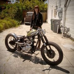 Lil Sara and her Triumph Bobber